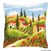 Vervaco stamped cross stitch kit cushion Tuscan landscape, DIY