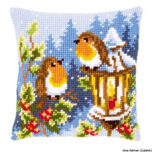 Vervaco stamped cross stitch kit cushion Robins at the...