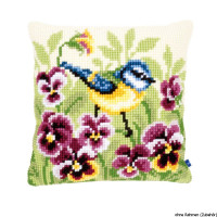 Vervaco stamped cross stitch kit cushion Blue tit on pansies, DIY