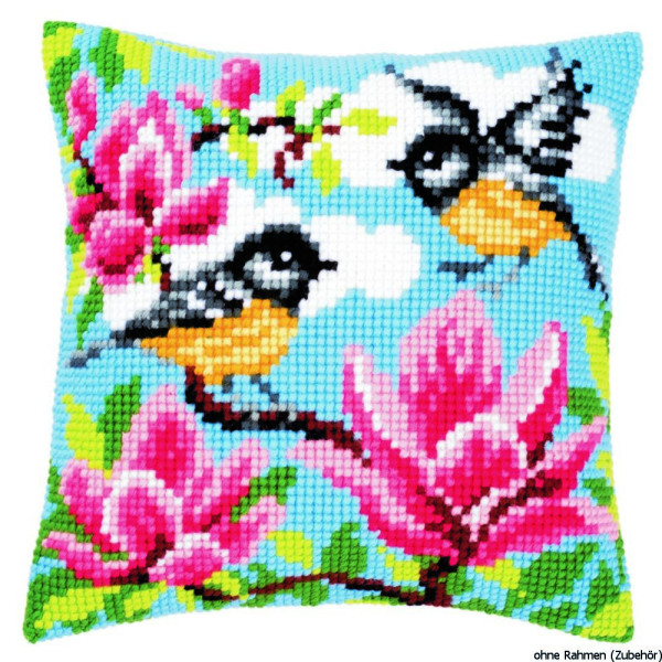 Vervaco stamped cross stitch kit cushion titmouse and magnolia, DIY