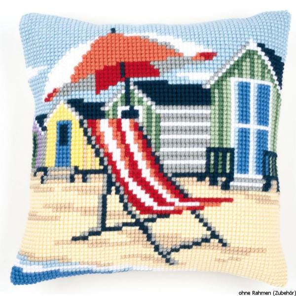 Vervaco stamped cross stitch kit cushion On the beach, DIY