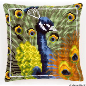 Vervaco stamped cross stitch kit cushion Proud peacock, DIY