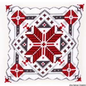 Vervaco stamped cross stitch kit cushion Snow crystal II,...