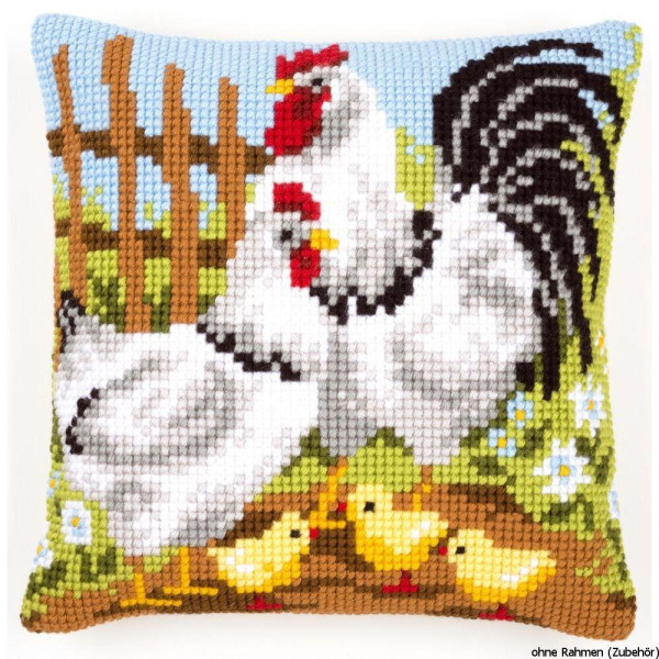 Vervaco stamped cross stitch kit cushion Chicken family on a farm, DIY