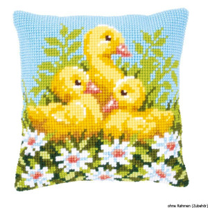 Vervaco stamped cross stitch kit cushion Ducklings with...