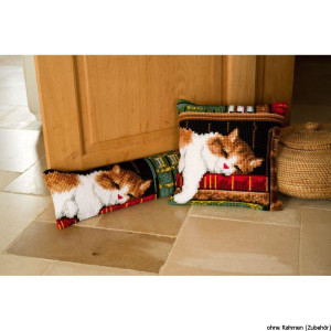 Vervaco stamped cross stitch kit cushion Cat sleeping on...