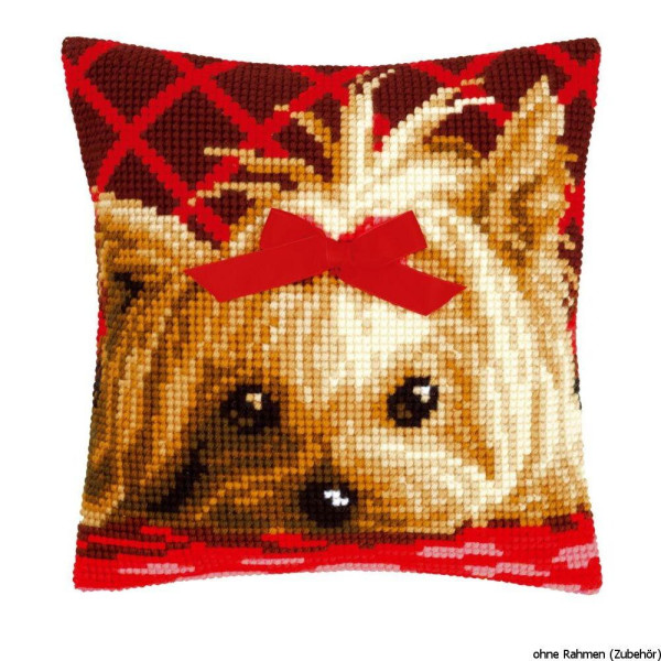 Vervaco stamped cross stitch kit cushion Yorkshire with bow, DIY