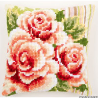 Vervaco stamped cross stitch kit cushion Pink roses I, DIY