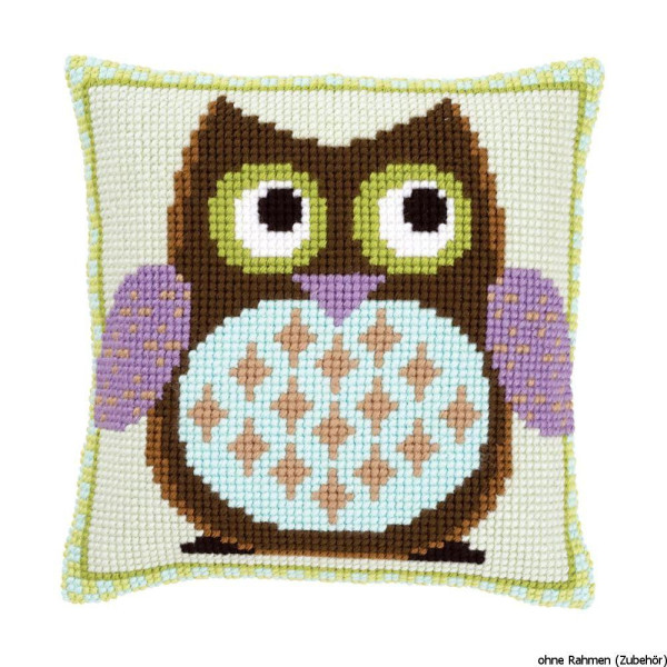Vervaco stamped cross stitch kit cushion Mister owl, DIY