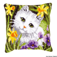 Vervaco stamped cross stitch kit cushion White cat in daffodils, DIY
