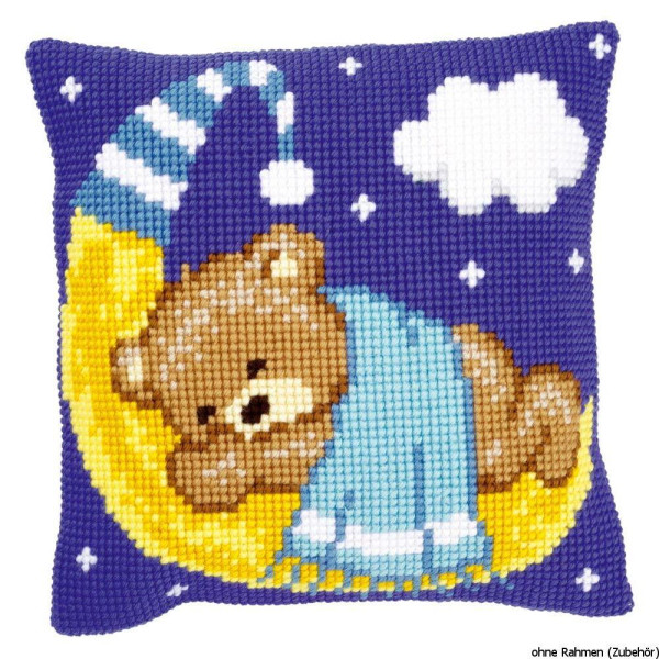 Vervaco stamped cross stitch kit cushion Bear on the moon blue, DIY