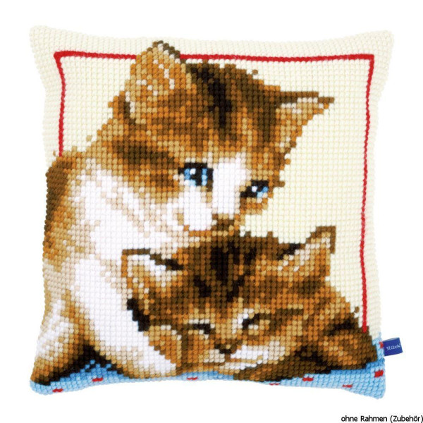 Vervaco stamped cross stitch kit cushion Playful kittens, DIY
