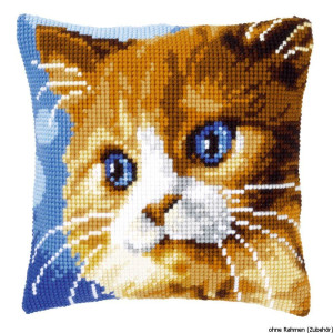 Vervaco stamped cross stitch kit cushion Brown cat, DIY