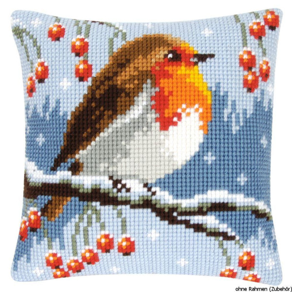 Vervaco stamped cross stitch kit cushion Red robin in the winter, DIY