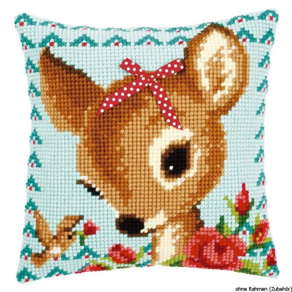 Vervaco stamped cross stitch kit cushion Bambi with a bow, DIY