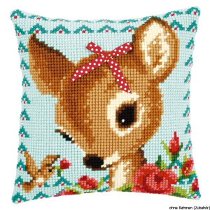 Vervaco stamped cross stitch kit cushion Bambi with a...