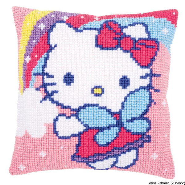 Vervaco stamped cross stitch kit cushion Hello Kitty and rainbow, DIY
