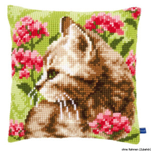 Vervaco stamped cross stitch kit cushion Cat in field of...