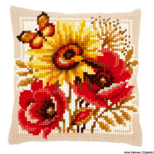 Vervaco stamped cross stitch kit cushion Poppies and...