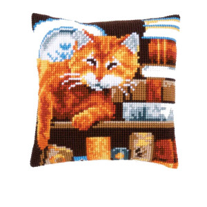 Vervaco stamped cross stitch kit cushion Cat and books, DIY