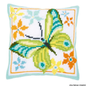 Vervaco stamped cross stitch kit cushion Green butterfly,...
