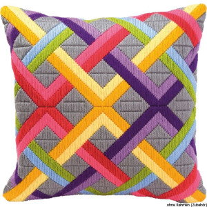 Vervaco Long stitch kit cushion stamped Colourful...