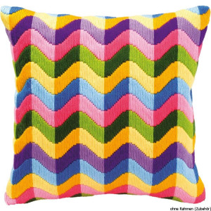 Vervaco Long stitch kit cushion stamped Colourful waves, DIY