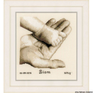 Vervaco Counted cross stitch kit Baby foot on hand, DIY