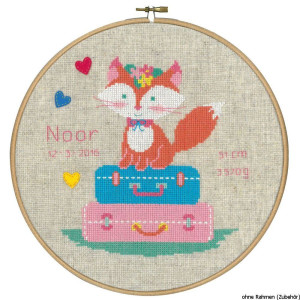 """Vervaco cross stitch kit with Hoop counted """"Fox on..."""