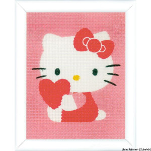 Vervaco stitch kit Hello Kitty with heart, stamped, DIY