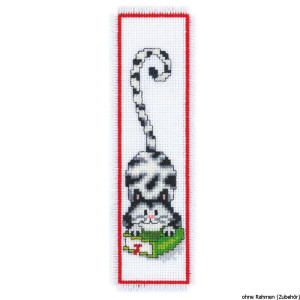 Vervaco Bookmark counted cross stitch kit Cat and book, DIY