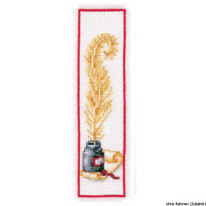 Vervaco Bookmark counted cross stitch kit Goose feather, DIY