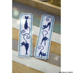 Vervaco Bookmark counted cross stitch kits Cheerful Cats...