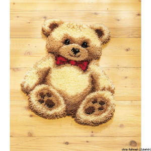 Vervaco Latch hook shaped carpet kit Brown bear with red...