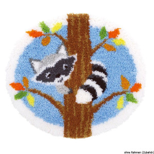 """Vervaco Latch hook shaped carpet """"raccoon in the..."""
