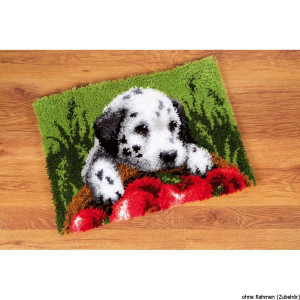 Vervaco Latch hook rug kit Dalmatian with apples, DIY