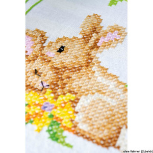 Vervaco table runner stitch embroidery kit Rabbits,...