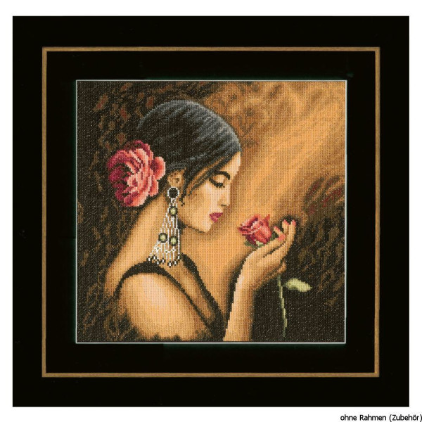"""counted Lanarte cross stitch kit /""""girl with dog linen/"""" DIY"""