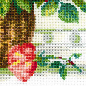 Riolis counted cross stitch Kit Basket With Roses, DIY